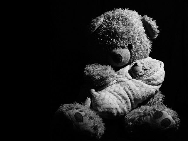 teddy bear, sad, black