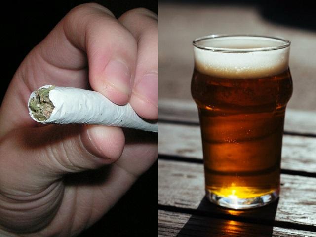weed, joint, marijuana, beer, alcohol, thc