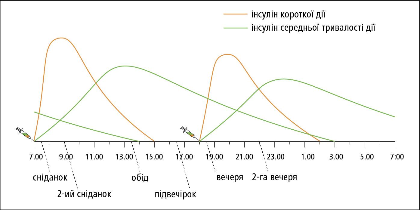 Схема лікування сумішшю людських інсулінів, що вводиться 2× на день (інсулін короткої дії зінсуліном середньої тривалості дії)