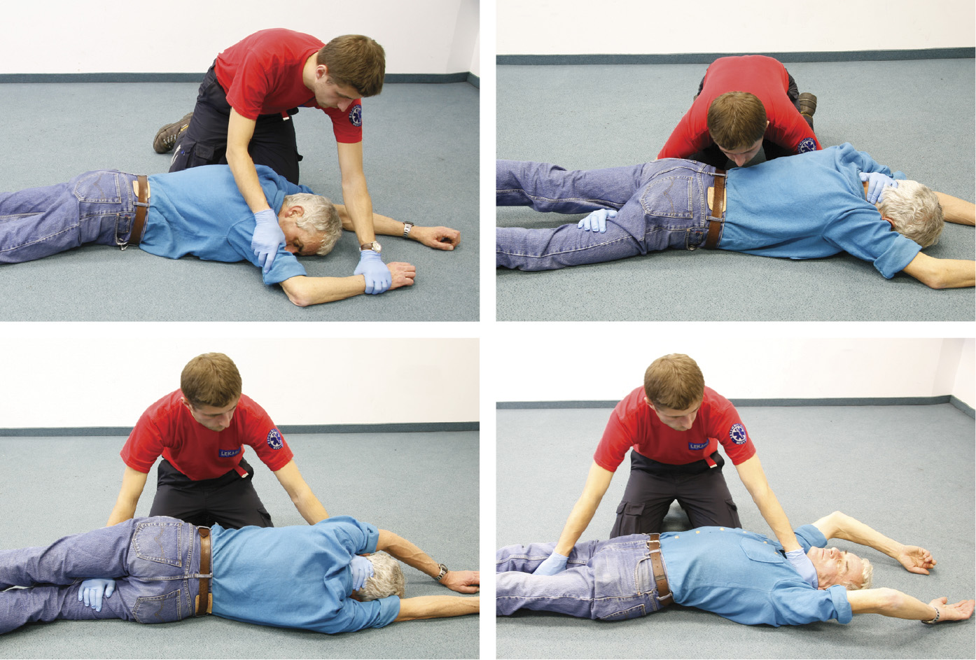 Перевepтання жертви нещасного випадку, яка лежить на животі вположення на спині (опис— утекстi)