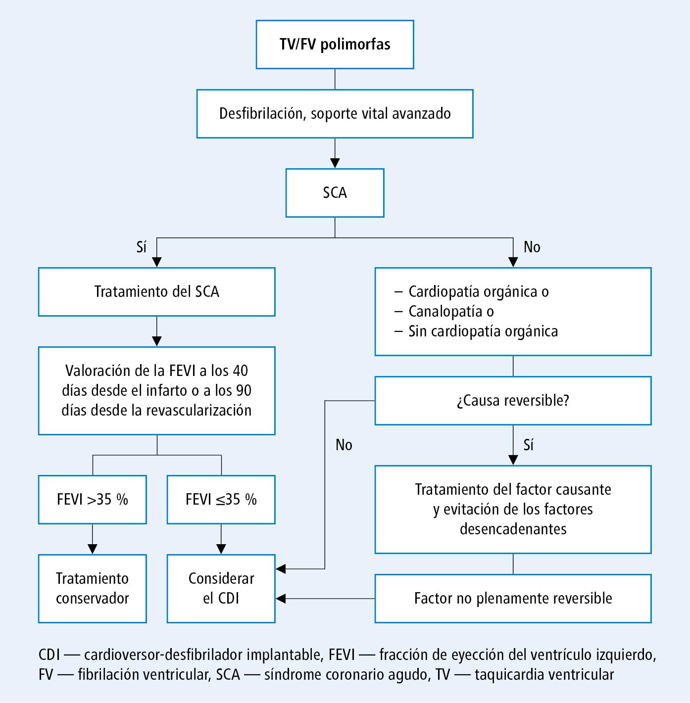 Actuación en enfermos con taquicardia o fibrilación ventricular (a base de opinión acordada de los expertos de EHRA, HRS y APHRS 2014, modificada)
